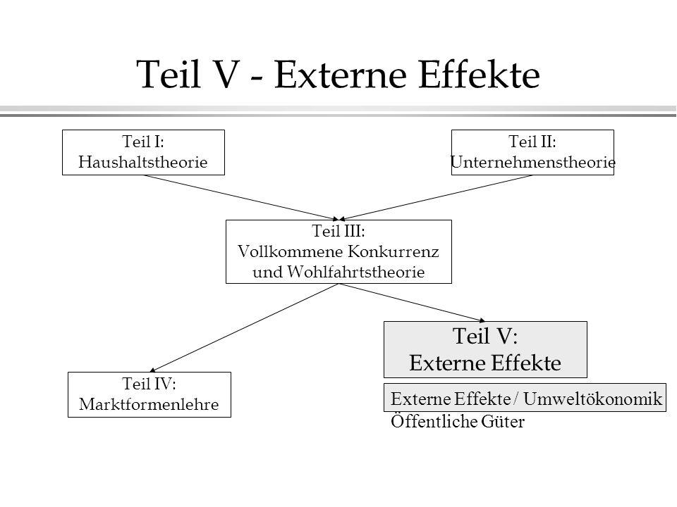 Teil V - Externe Effekte Teil I: Haushaltstheorie Teil II: Unternehmenstheorie Teil III: Vollkommene Konkurrenz und Wohlfahrtstheorie Teil IV: Marktfo