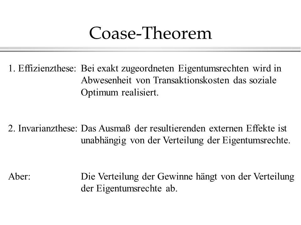 Coase-Theorem 1. Effizienzthese: 2. Invarianzthese: Aber: Bei exakt zugeordneten Eigentumsrechten wird in Abwesenheit von Transaktionskosten das sozia