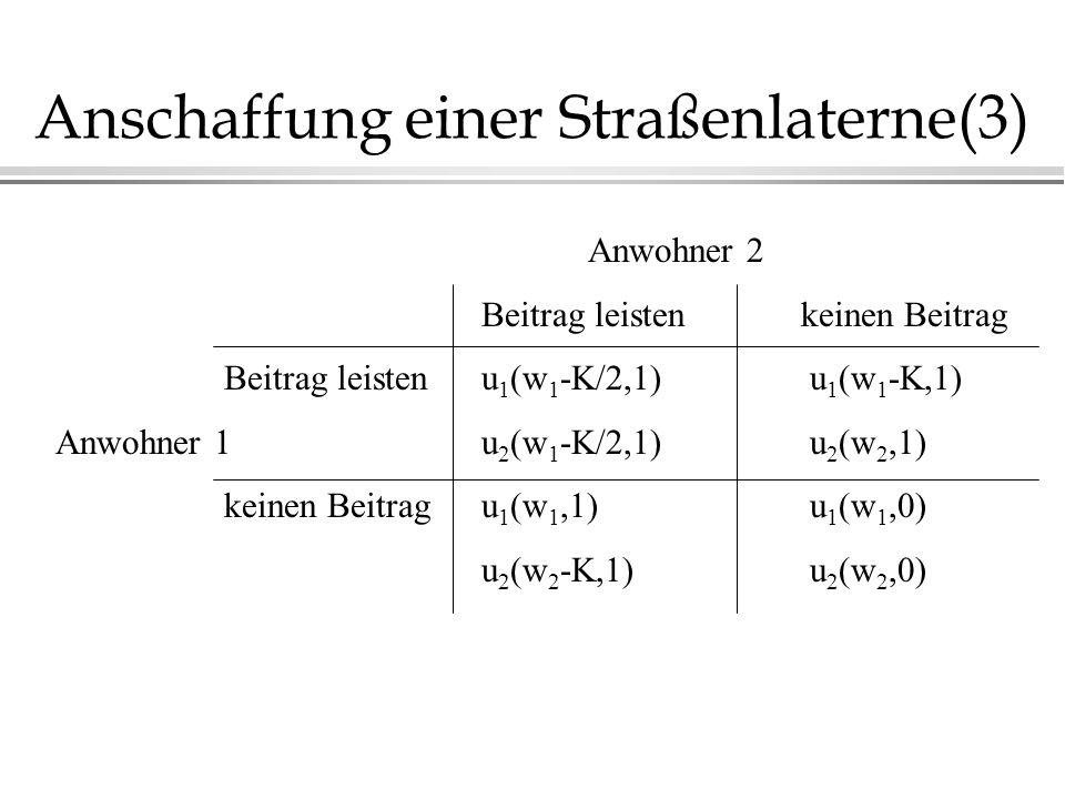 Anschaffung einer Straßenlaterne(3) Anwohner 2 Beitrag leistenkeinen Beitrag Beitrag leistenu 1 (w 1 -K/2,1) u 1 (w 1 -K,1) Anwohner 1u 2 (w 1 -K/2,1)