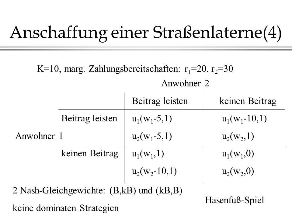 Anschaffung einer Straßenlaterne(4) Anwohner 2 Beitrag leistenkeinen Beitrag Beitrag leistenu 1 (w 1 -5,1) u 1 (w 1 -10,1) Anwohner 1u 2 (w 1 -5,1) u