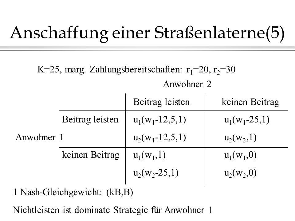 Anschaffung einer Straßenlaterne(5) Anwohner 2 Beitrag leistenkeinen Beitrag Beitrag leistenu 1 (w 1 -12,5,1) u 1 (w 1 -25,1) Anwohner 1u 2 (w 1 -12,5