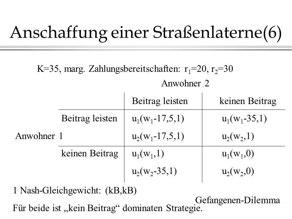 Anschaffung einer Straßenlaterne(6) Anwohner 2 Beitrag leistenkeinen Beitrag Beitrag leistenu 1 (w 1 -17,5,1) u 1 (w 1 -35,1) Anwohner 1u 2 (w 1 -17,5