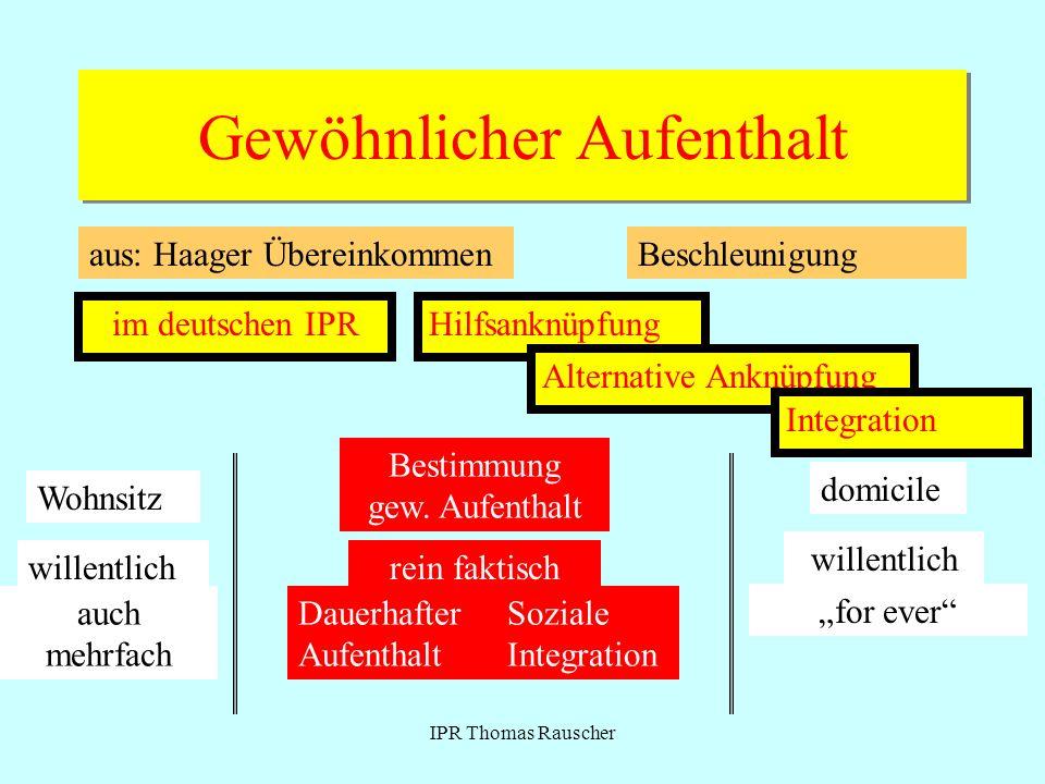 IPR Thomas Rauscher Gewöhnlicher Aufenthalt aus: Haager ÜbereinkommenBeschleunigung im deutschen IPRHilfsanknüpfung Alternative Anknüpfung Integration