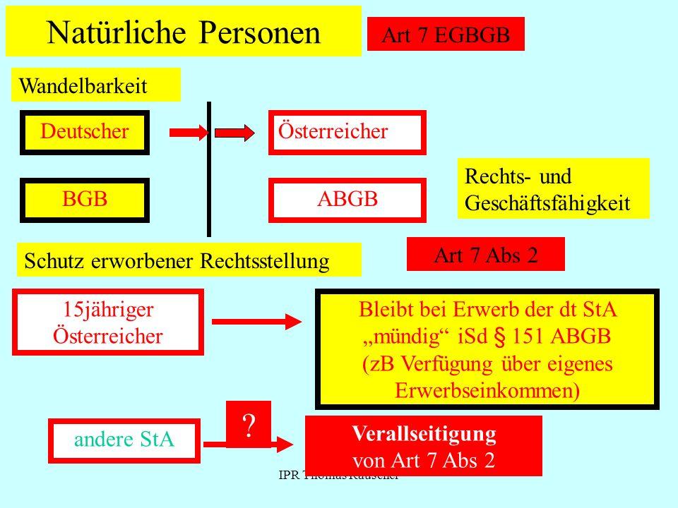 IPR Thomas Rauscher Natürliche Personen Art 7 EGBGB Wandelbarkeit DeutscherÖsterreicher Rechts- und Geschäftsfähigkeit BGBABGB Schutz erworbener Recht
