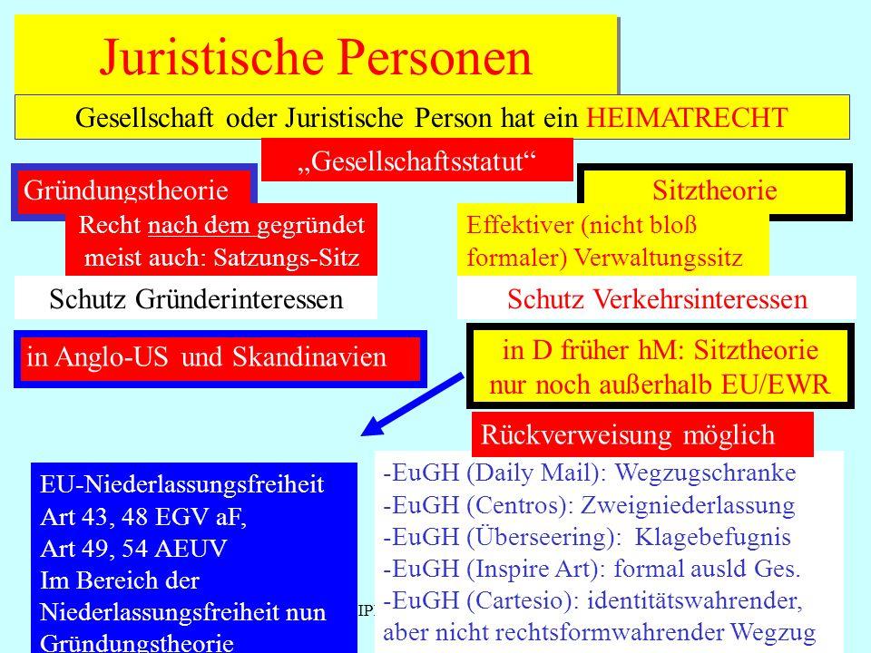 IPR Thomas Rauscher Juristische Personen Gesellschaft oder Juristische Person hat ein HEIMATRECHT Gründungstheorie Recht nach dem gegründet meist auch