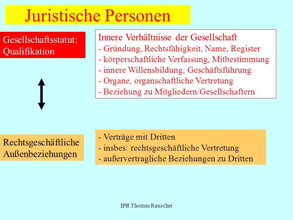 IPR Thomas Rauscher Juristische Personen Gesellschaftsstatut: Qualifikation Innere Verhältnisse der Gesellschaft - Gründung, Rechtsfähigkeit, Name, Re
