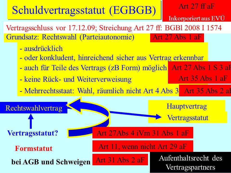 IPR Thomas Rauscher Schuldvertragsstatut (EGBGB) Art 27 ff aF Inkorporiert aus EVÜ Grundsatz: Rechtswahl (Parteiautonomie)Art 27 Abs 1 aF AF - ausdrüc