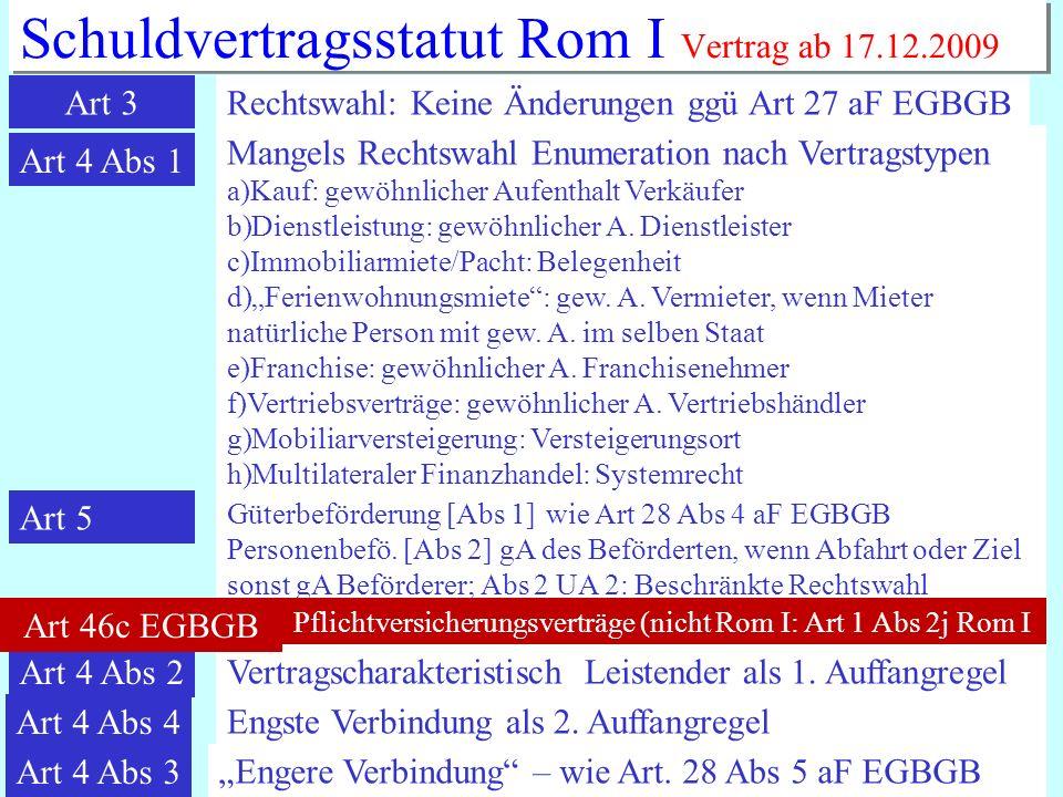 IPR Thomas Rauscher Schuldvertragsstatut Rom I Vertrag ab 17.12.2009 Art 3Rechtswahl: Keine Änderungen ggü Art 27 aF EGBGB Art 4 Abs 1 Mangels Rechtsw