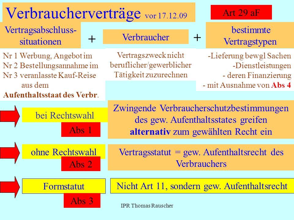 IPR Thomas Rauscher Verbraucherverträge vor 17.12.09 Art 29 aF bestimmte Vertragstypen + Verbraucher + Vertragsabschluss- situationen -Lieferung bewgl