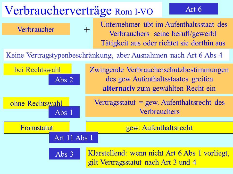IPR Thomas Rauscher Verbraucherverträge Rom I-VO Art 6 Unternehmer übt im Aufenthaltsstaat des Verbrauchers seine berufl/gewerbl Tätigkeit aus oder ri