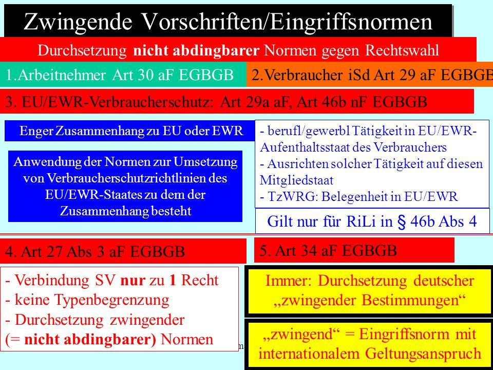 IPR Thomas Rauscher Zwingende Vorschriften/Eingriffsnormen 1.Arbeitnehmer Art 30 aF EGBGB Durchsetzung nicht abdingbarer Normen gegen Rechtswahl Enger