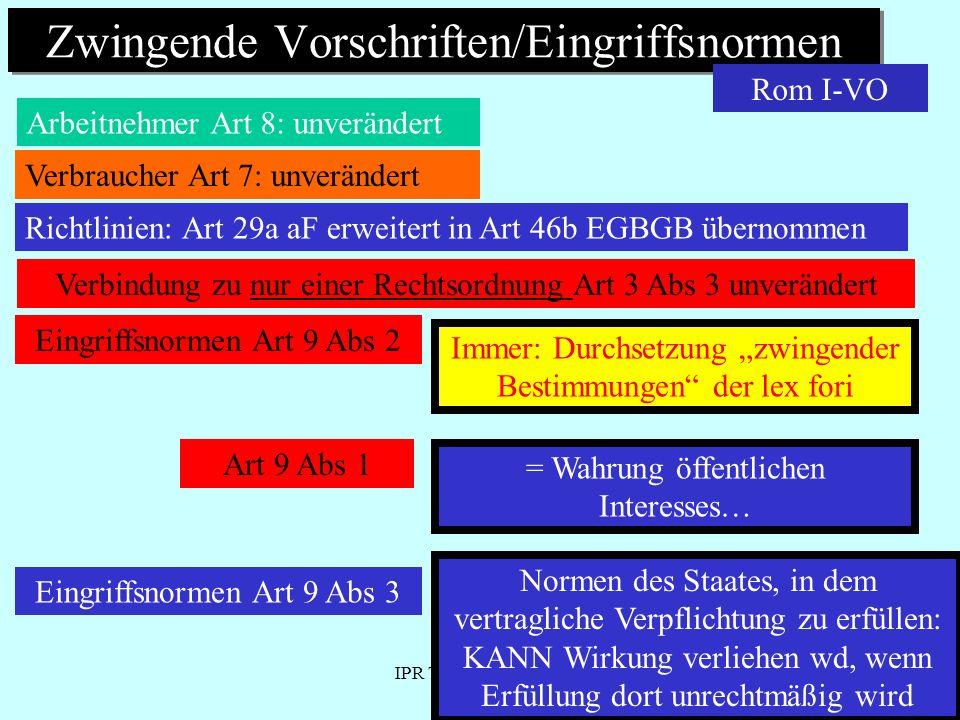 IPR Thomas Rauscher Zwingende Vorschriften/Eingriffsnormen Arbeitnehmer Art 8: unverändert Rom I-VO Verbindung zu nur einer Rechtsordnung Art 3 Abs 3