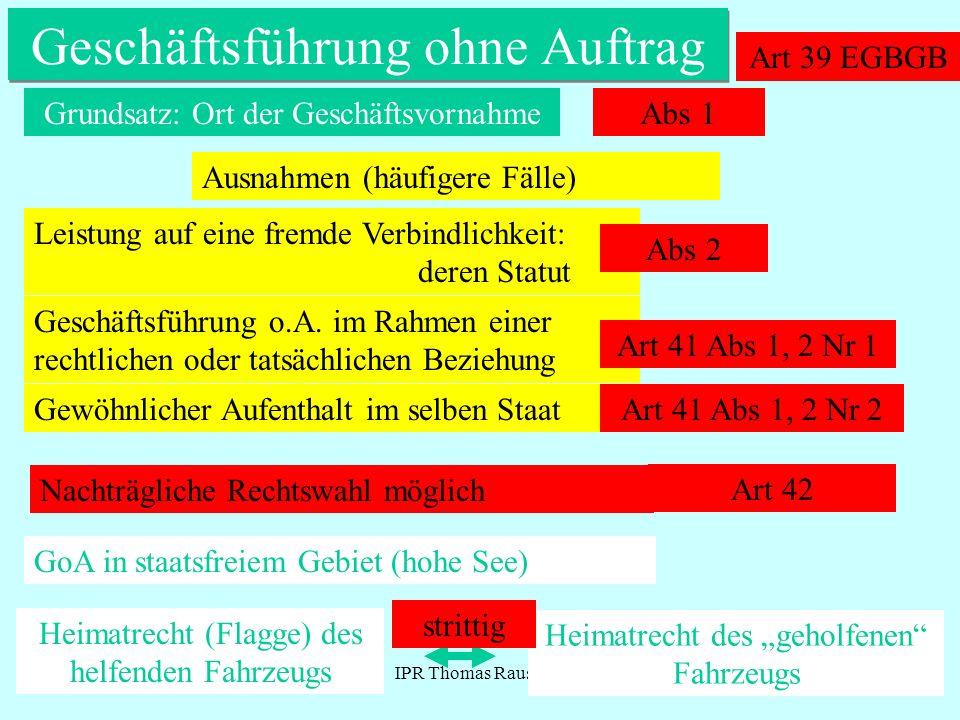 IPR Thomas Rauscher Geschäftsführung ohne Auftrag Art 39 EGBGB Grundsatz: Ort der GeschäftsvornahmeAbs 1 Ausnahmen (häufigere Fälle) Leistung auf eine