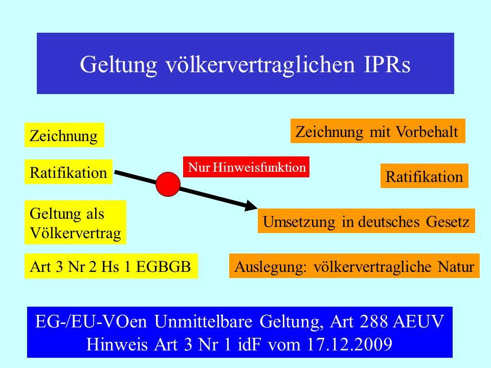 IPR Thomas Rauscher Geltung völkervertraglichen IPRs Zeichnung Ratifikation Geltung als Völkervertrag Art 3 Nr 2 Hs 1 EGBGB Zeichnung mit Vorbehalt Ra