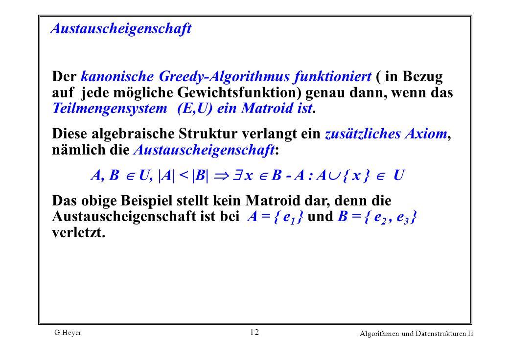 G.Heyer Algorithmen und Datenstrukturen II 12 Austauscheigenschaft Der kanonische Greedy-Algorithmus funktioniert ( in Bezug auf jede mögliche Gewichtsfunktion) genau dann, wenn das Teilmengensystem (E,U) ein Matroid ist.