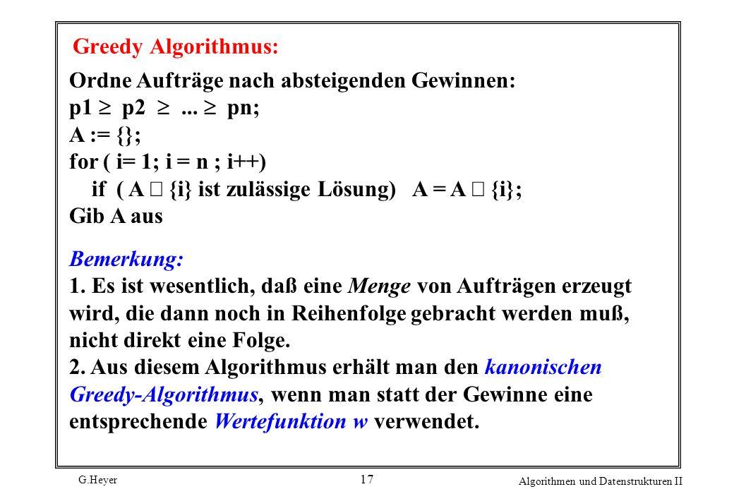 G.Heyer Algorithmen und Datenstrukturen II 17 Greedy Algorithmus: Ordne Aufträge nach absteigenden Gewinnen: p1 p2...