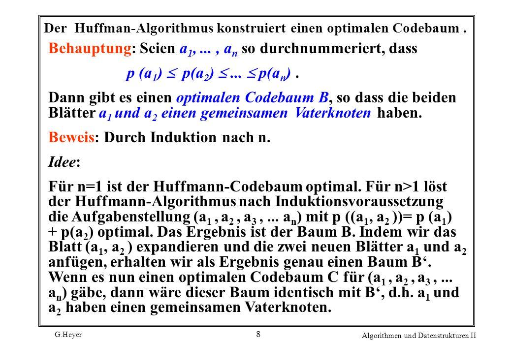G.Heyer Algorithmen und Datenstrukturen II 8 Der Huffman-Algorithmus konstruiert einen optimalen Codebaum.