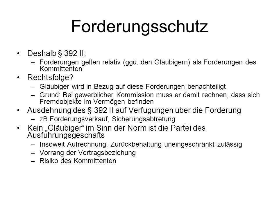Forderungsschutz Deshalb § 392 II: –Forderungen gelten relativ (ggü. den Gläubigern) als Forderungen des Kommittenten Rechtsfolge? –Gläubiger wird in