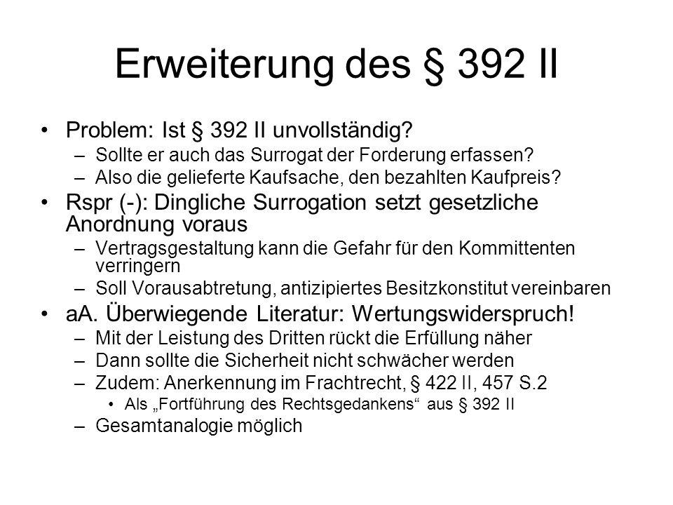 Erweiterung des § 392 II Problem: Ist § 392 II unvollständig? –Sollte er auch das Surrogat der Forderung erfassen? –Also die gelieferte Kaufsache, den