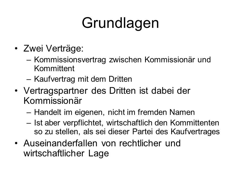 Keine Voraussetzung: Kaufmannseigenschaft des Kommissionärs.