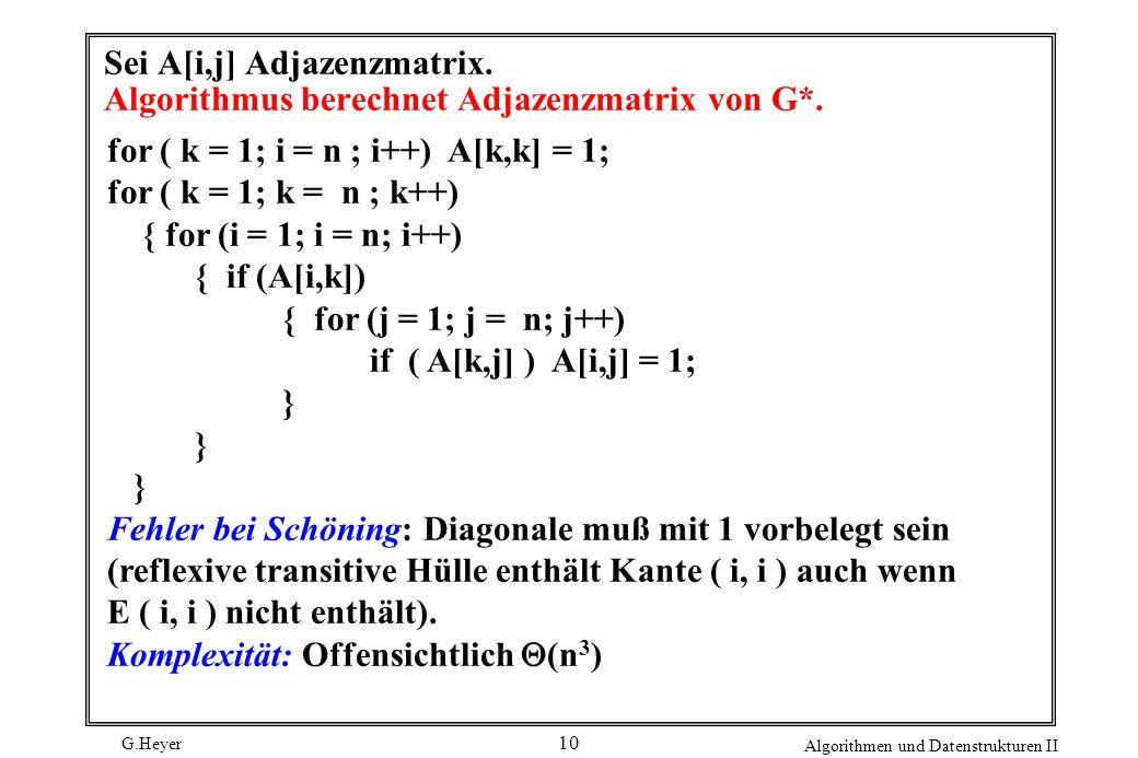 G.Heyer Algorithmen und Datenstrukturen II 10 Sei A[i,j] Adjazenzmatrix. Algorithmus berechnet Adjazenzmatrix von G*. for ( k = 1; i = n ; i++) A[k,k]