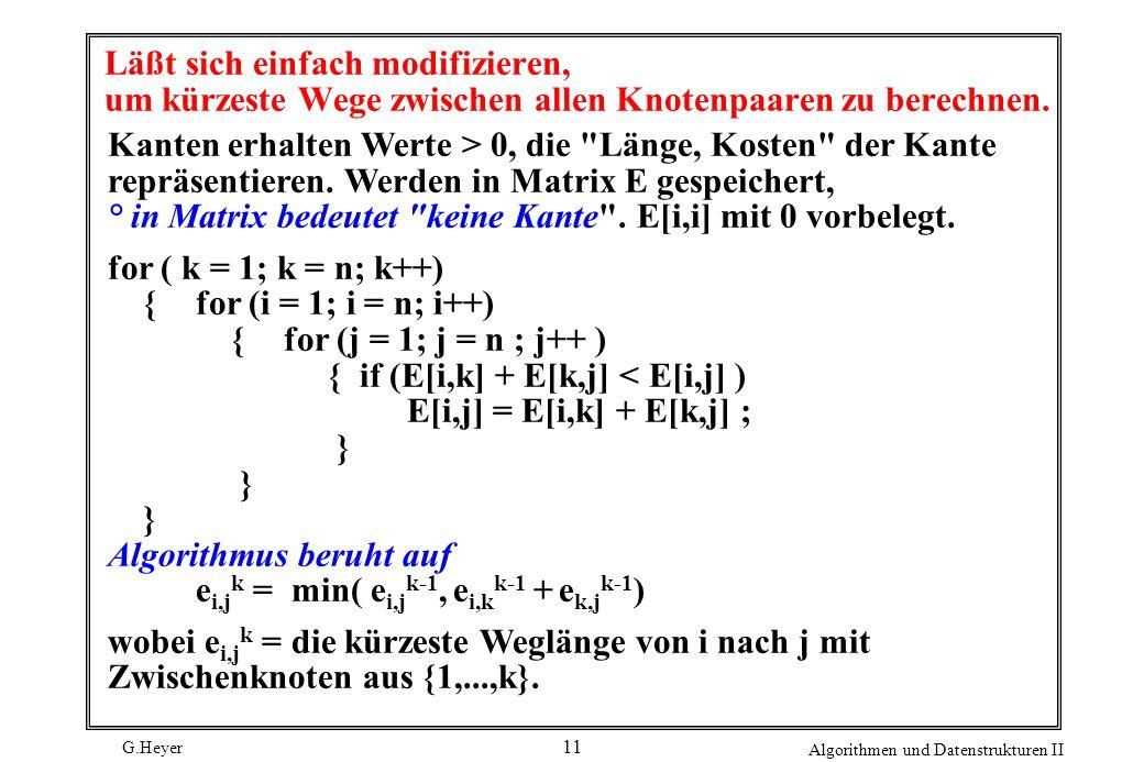 G.Heyer Algorithmen und Datenstrukturen II 11 Läßt sich einfach modifizieren, um kürzeste Wege zwischen allen Knotenpaaren zu berechnen. Kanten erhalt