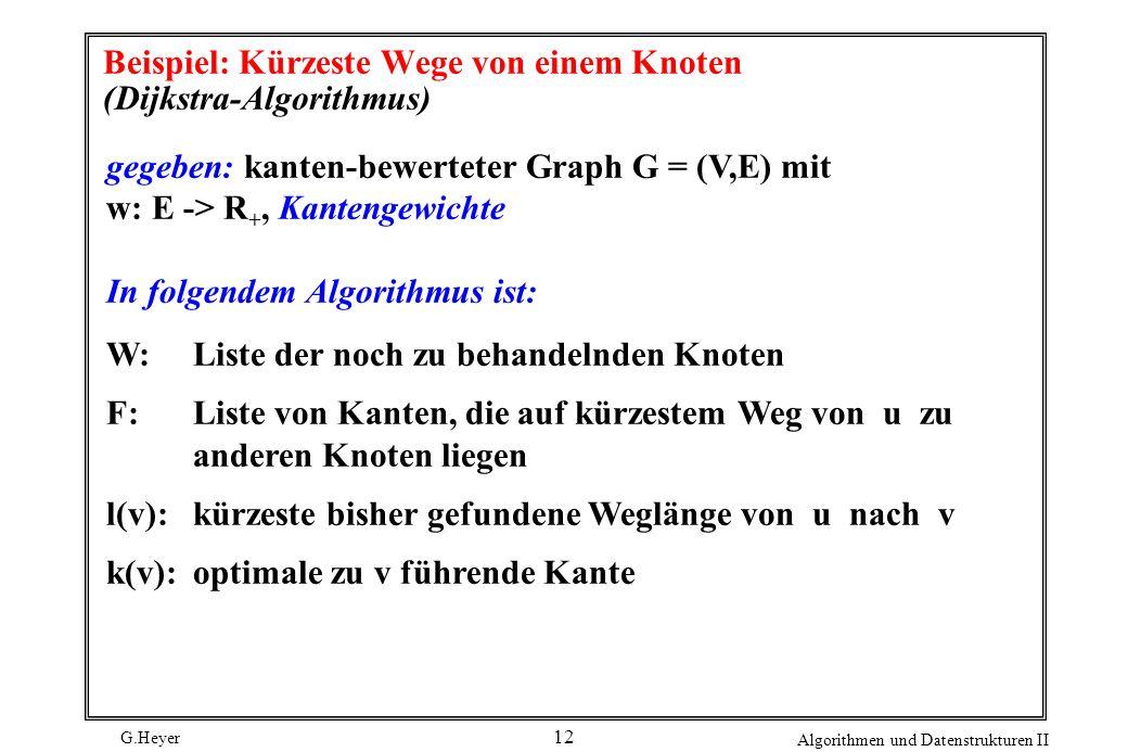 G.Heyer Algorithmen und Datenstrukturen II 12 Beispiel: Kürzeste Wege von einem Knoten (Dijkstra-Algorithmus) gegeben: kanten-bewerteter Graph G = (V,