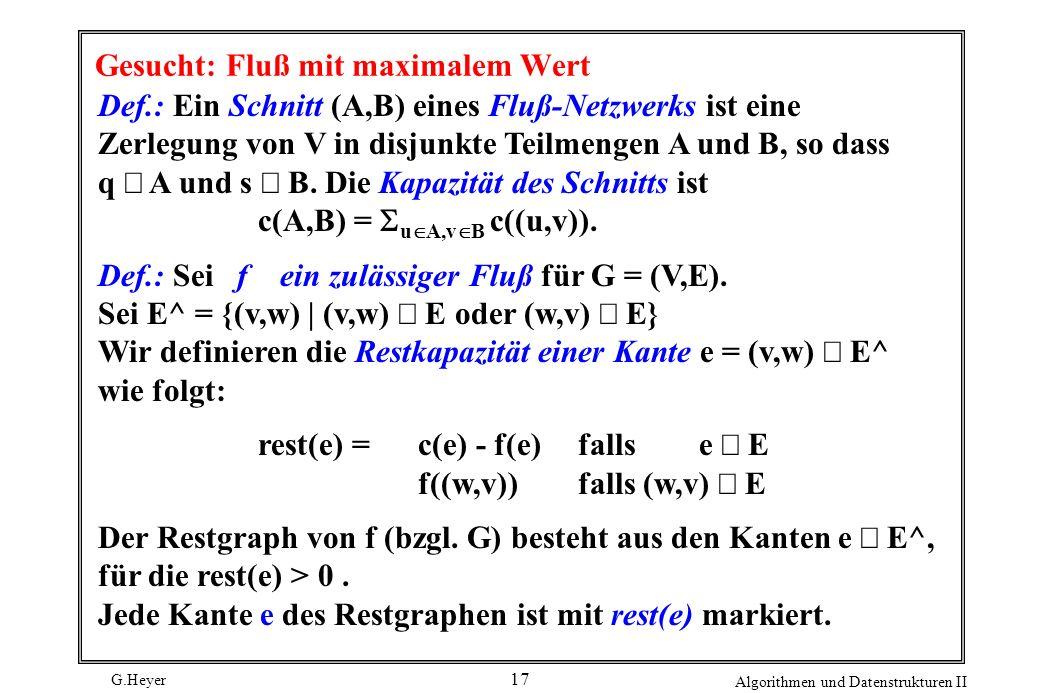 G.Heyer Algorithmen und Datenstrukturen II 17 Gesucht: Fluß mit maximalem Wert Def.: Ein Schnitt (A,B) eines Fluß-Netzwerks ist eine Zerlegung von V i