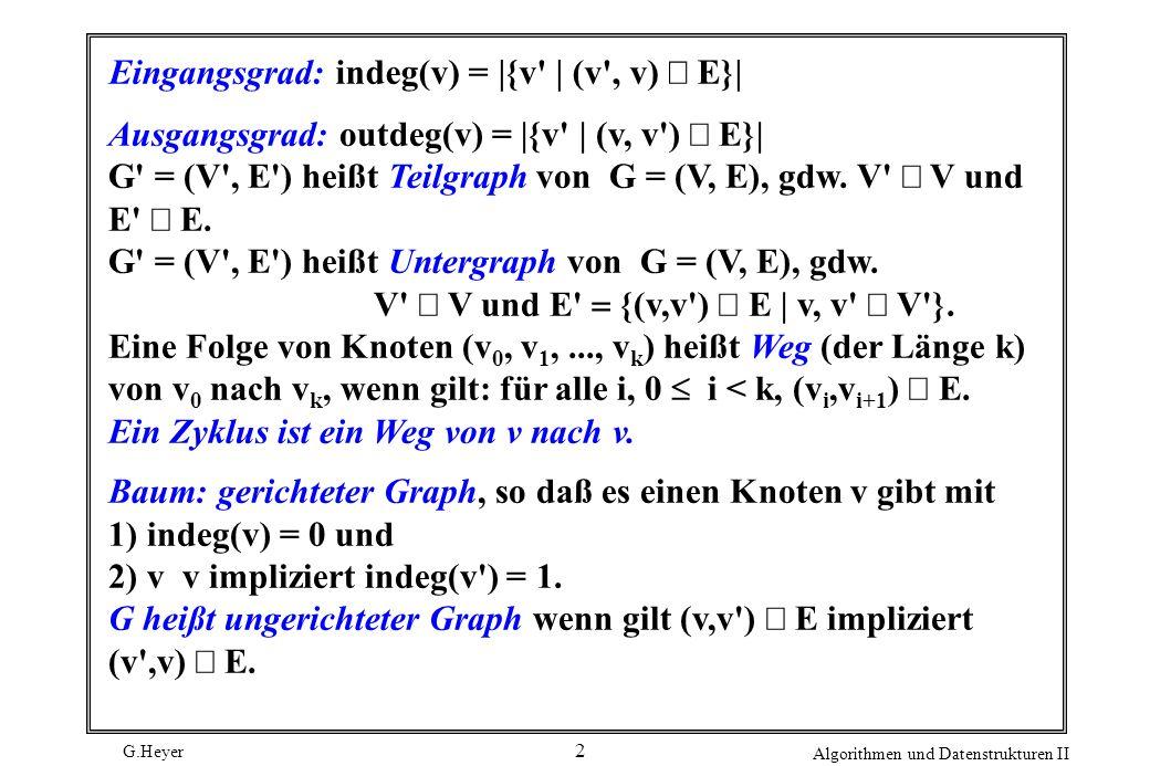 G.Heyer Algorithmen und Datenstrukturen II 2 Eingangsgrad: indeg(v) = |{v' | (v', v) E}| Ausgangsgrad: outdeg(v) = |{v' | (v, v') E}| G' = (V', E') he