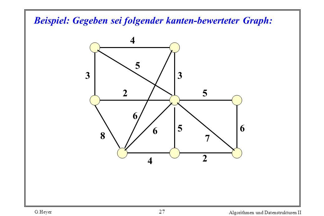 G.Heyer Algorithmen und Datenstrukturen II 27 Beispiel: Gegeben sei folgender kanten-bewerteter Graph: 5 6 8 3 4 6 6 5 2 4 7 5 2 3