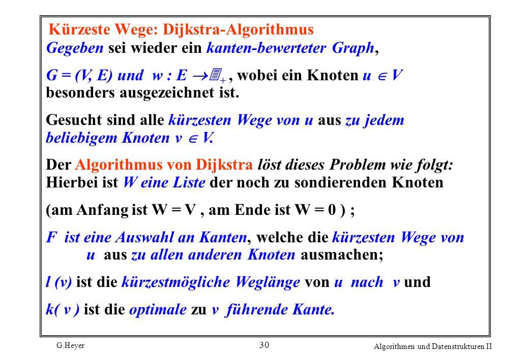 G.Heyer Algorithmen und Datenstrukturen II 30 Kürzeste Wege: Dijkstra-Algorithmus Gegeben sei wieder ein kanten-bewerteter Graph, G = (V, E) und w : E