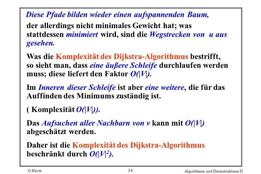 G.Heyer Algorithmen und Datenstrukturen II 34 Diese Pfade bilden wieder einen aufspannenden Baum, der allerdings nicht minimales Gewicht hat; was stat