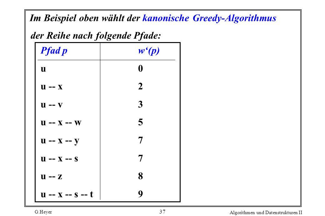 G.Heyer Algorithmen und Datenstrukturen II 37 Im Beispiel oben wählt der kanonische Greedy-Algorithmus der Reihe nach folgende Pfade: Pfad pw(p) u0 u