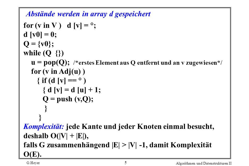 G.Heyer Algorithmen und Datenstrukturen II 6 Tiefensuche: Bearbeite einen Knoten v erst dann, wenn alle seine Söhne bearbeitet sind (außer wenn ein Sohn auf dem Weg zu v liegt) Tiefensuche ( Knoten u ) { farbe [u] = grau; while (v in Adj(u)) if (farbe[v] == weiss) Tiefensuche(v); farbe[u] = schwarz; } weiss: noch nicht besucht grau: besucht, noch nicht abgeschlossen schwarz: abgeschlossen Komplexität O(E)