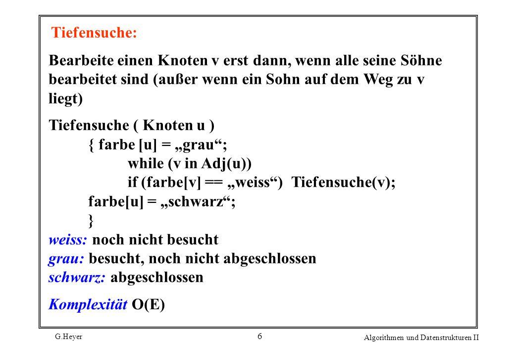 G.Heyer Algorithmen und Datenstrukturen II 17 Gesucht: Fluß mit maximalem Wert Def.: Ein Schnitt (A,B) eines Fluß-Netzwerks ist eine Zerlegung von V in disjunkte Teilmengen A und B, so dass q A und s B.