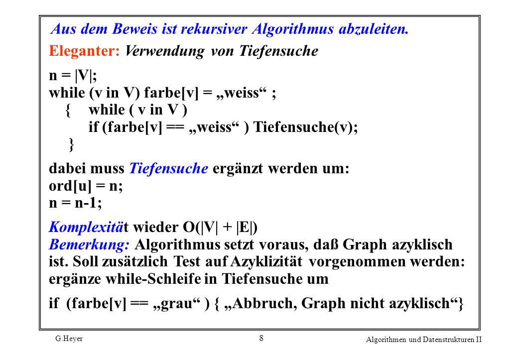 G.Heyer Algorithmen und Datenstrukturen II 29 Sofern man nach absteigendem Kantengewicht die Kanten 5 6 8 3 4 6 6 5 2 4 7 5 2 3 auswählt, erhält man einen aufspannenden Baum mit maximalem Kantengewicht, nämlich 8 + 7 + 6 + 6 + 6 + 5 + 5 = 43 (wieder gestrichelt gezeichnet).