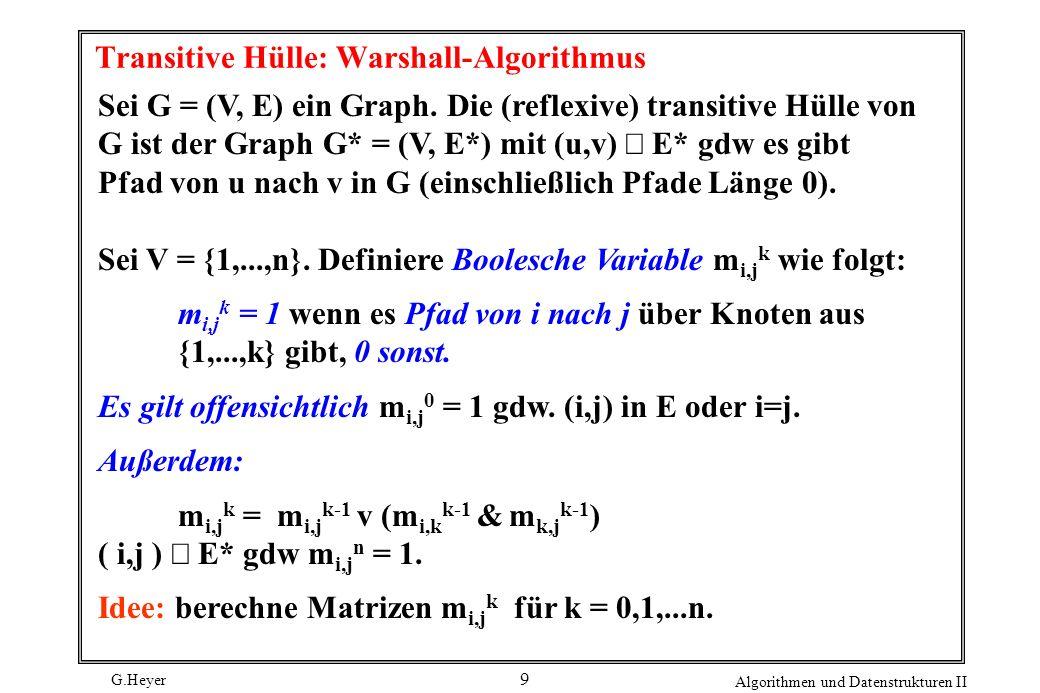 G.Heyer Algorithmen und Datenstrukturen II 20 Daraus ergibt sich folgender Algorithmus: for (alle e in E ) f(e) = 0; while ( es gibt zunehmenden Weg p im Restgraphen G f ) { r = min{rest(e) | e liegt in p}; for (alle e = (v,w) auf Pfad p ) if (e in E) f(e)= f(e) + r ; else f((w,v)) = f((w,v)) - r; }