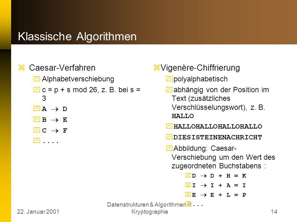 22. Januar 2001 Datenstrukturen & Algorithmen II: Kryptographie14 Klassische Algorithmen Caesar-Verfahren Alphabetverschiebung c = p + s mod 26, z. B.
