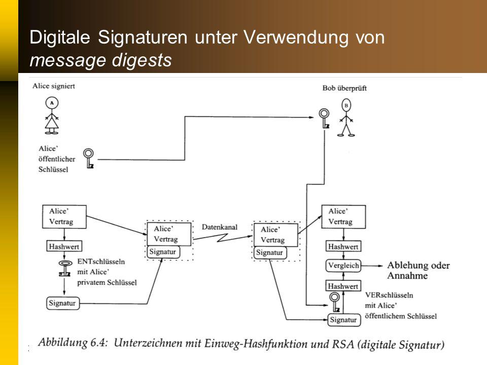 22. Januar 2001 Datenstrukturen & Algorithmen II: Kryptographie23 Digitale Signaturen unter Verwendung von message digests