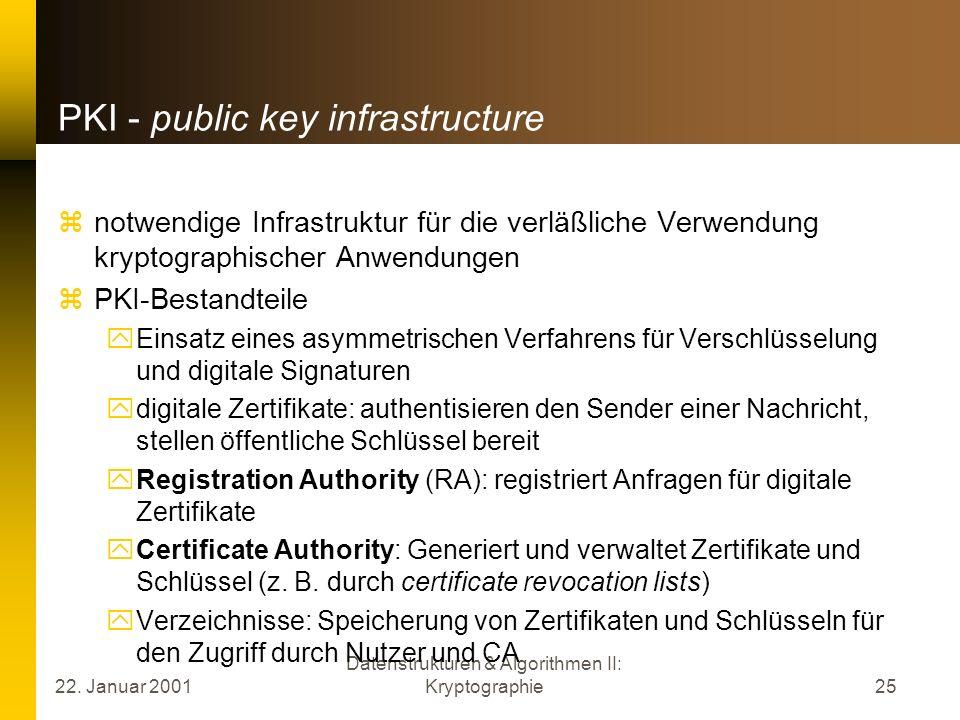 22. Januar 2001 Datenstrukturen & Algorithmen II: Kryptographie25 PKI - public key infrastructure notwendige Infrastruktur für die verläßliche Verwend