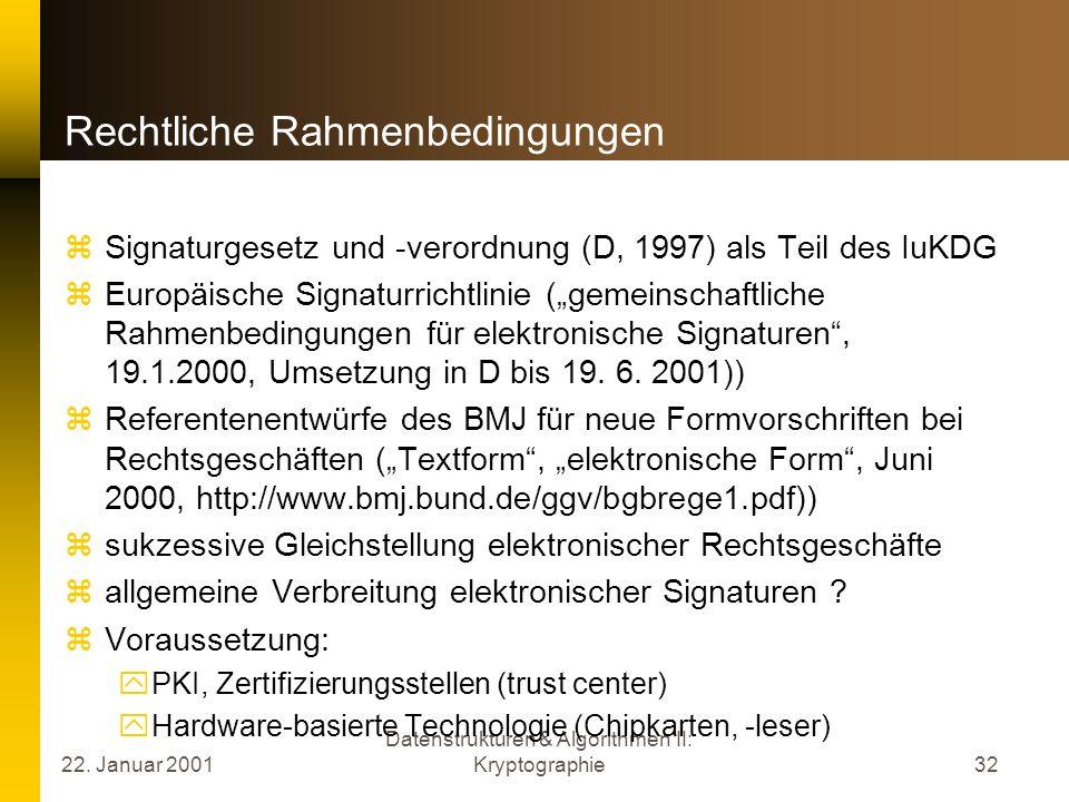 22. Januar 2001 Datenstrukturen & Algorithmen II: Kryptographie32 Rechtliche Rahmenbedingungen Signaturgesetz und -verordnung (D, 1997) als Teil des I