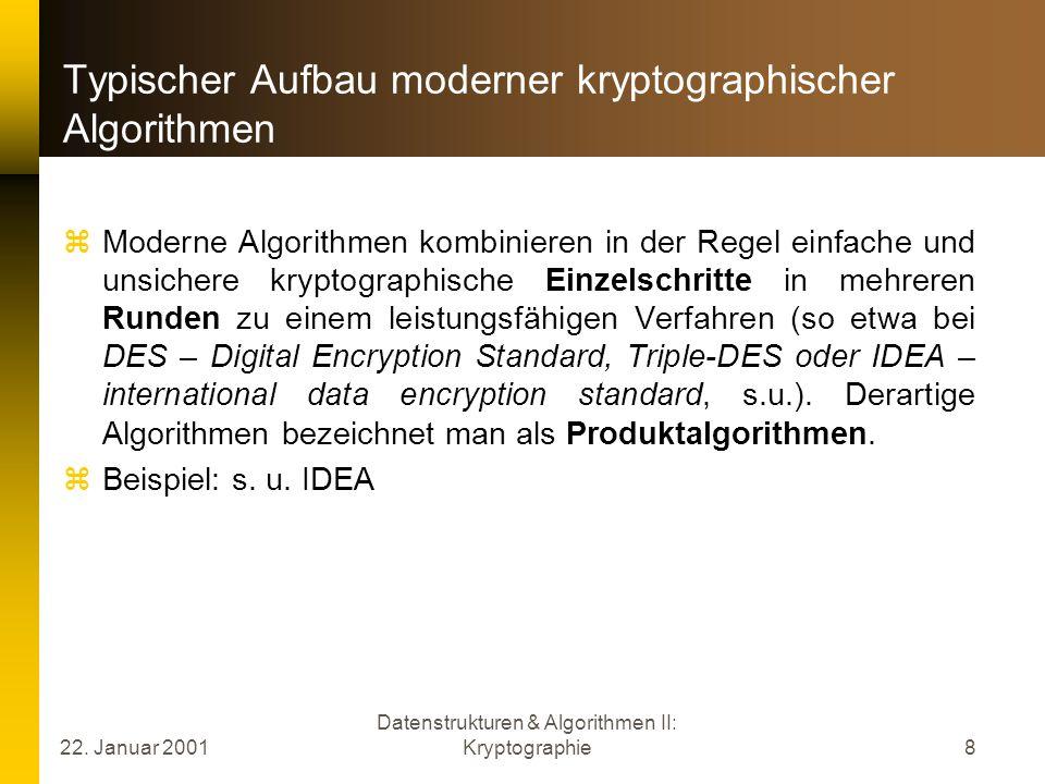 22. Januar 2001 Datenstrukturen & Algorithmen II: Kryptographie8 Typischer Aufbau moderner kryptographischer Algorithmen Moderne Algorithmen kombinier