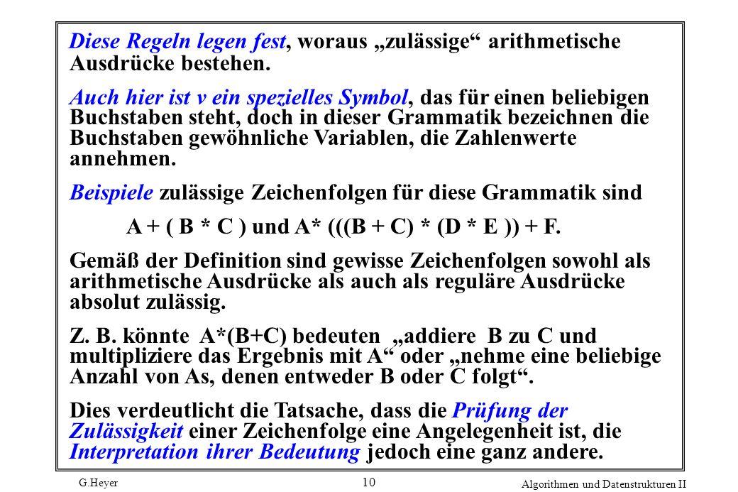 G.Heyer Algorithmen und Datenstrukturen II 10 Diese Regeln legen fest, woraus zulässige arithmetische Ausdrücke bestehen. Auch hier ist v ein speziell