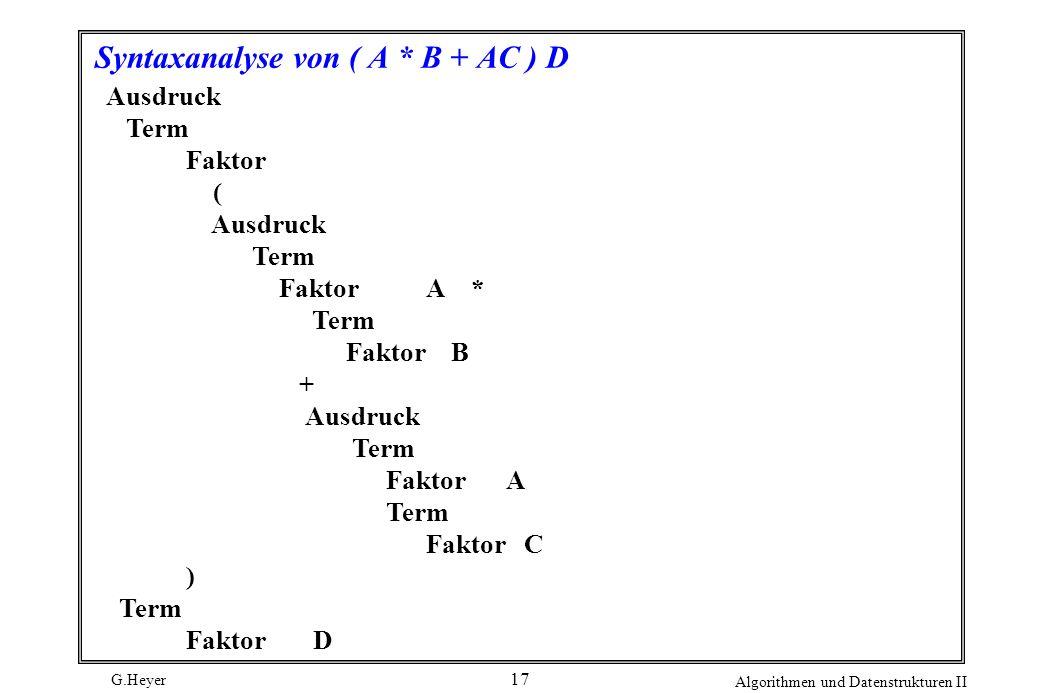 G.Heyer Algorithmen und Datenstrukturen II 17 Syntaxanalyse von ( A * B + AC ) D Ausdruck Term Faktor ( Ausdruck Term FaktorA * Term Faktor B + Ausdru