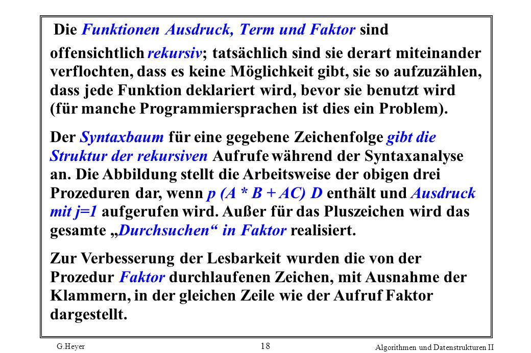 G.Heyer Algorithmen und Datenstrukturen II 18 Die Funktionen Ausdruck, Term und Faktor sind offensichtlich rekursiv; tatsächlich sind sie derart mitei