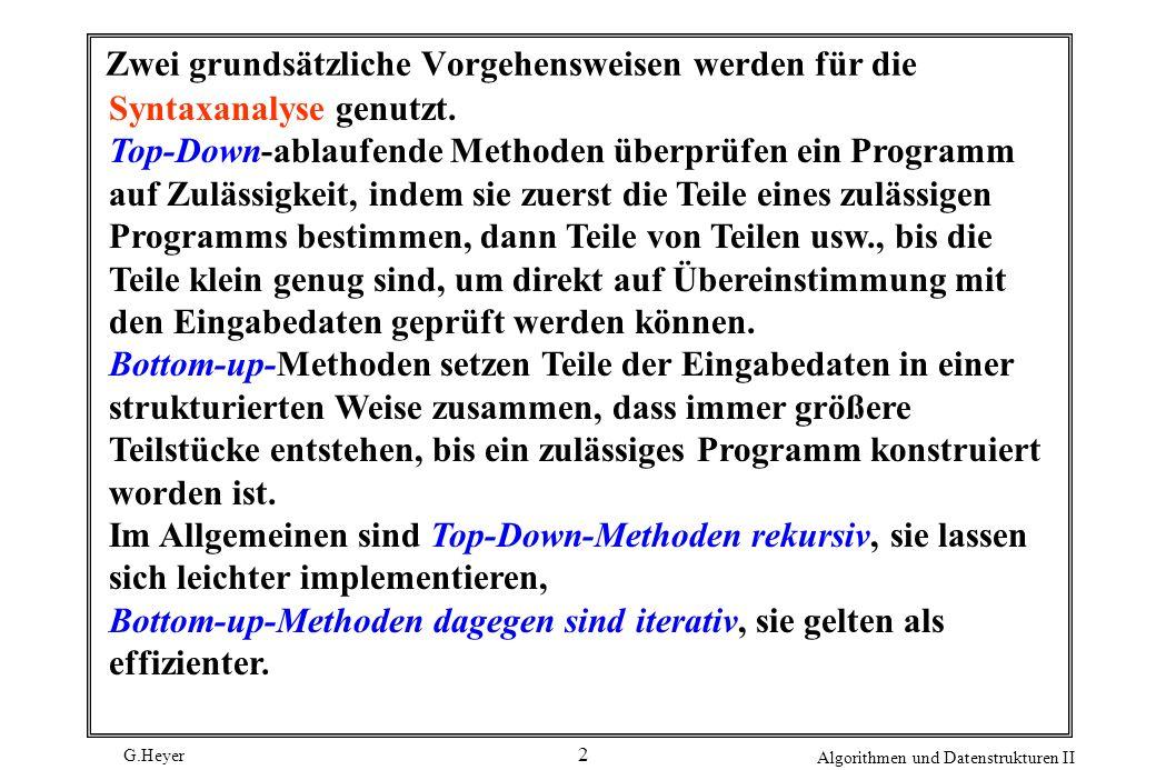 G.Heyer Algorithmen und Datenstrukturen II 13 Prozedur als Teil eines Top-Down-Parsers expression () { term (); if ( p [j] == + ) ( j++; expression() ; ) } Eine Zeichenfolge p enthält den regulären Ausdruck, der Gegenstand der Syntaxanalyse ist, mit einem Index j, der auf das Zeichen zeigt, dessen Untersuchung gerade beginnt.