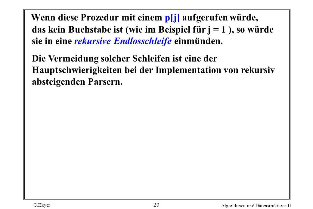 G.Heyer Algorithmen und Datenstrukturen II 20 Wenn diese Prozedur mit einem p[j] aufgerufen würde, das kein Buchstabe ist (wie im Beispiel für j = 1 )