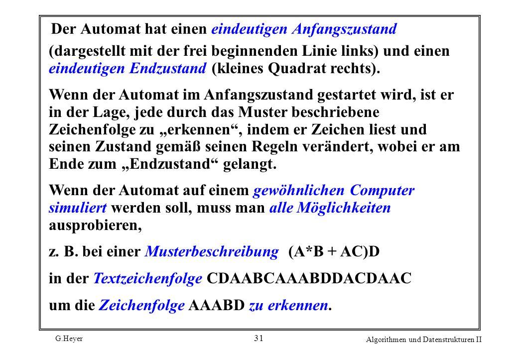 G.Heyer Algorithmen und Datenstrukturen II 31 Der Automat hat einen eindeutigen Anfangszustand (dargestellt mit der frei beginnenden Linie links) und