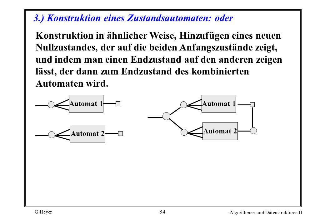 G.Heyer Algorithmen und Datenstrukturen II 34 3.) Konstruktion eines Zustandsautomaten: oder Automat 1Automat 2 Automat 1 Automat 2 Konstruktion in äh