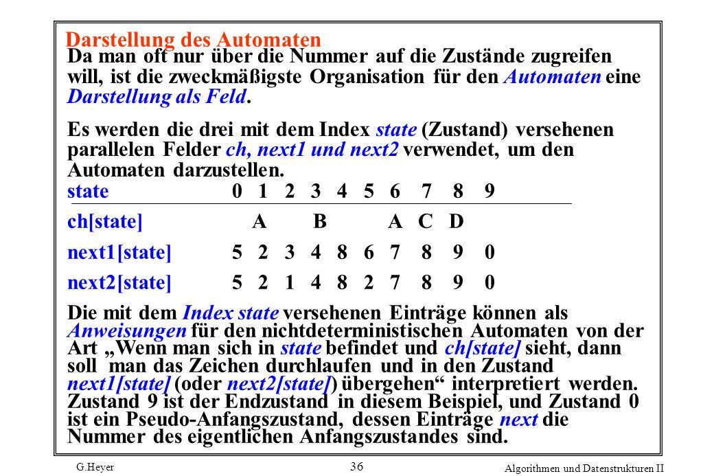 G.Heyer Algorithmen und Datenstrukturen II 36 Darstellung des Automaten Da man oft nur über die Nummer auf die Zustände zugreifen will, ist die zweckm